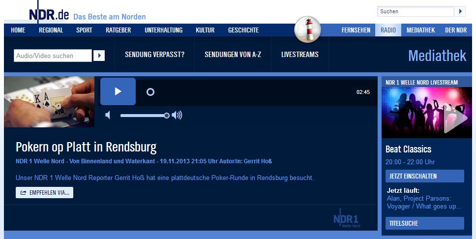 Pokerverein Rendsburg auf Welle Nord zur Themenwoche Glück